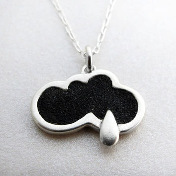 Rain cloud necklace concrete and silver rain by lulubugjewelry