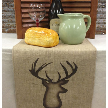 "Burlap Table Runner 12"", 14"" or 15"" wide with a shaded Deer bust on each end"