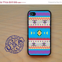 SALE Blue Aztec pattern Tribal Rubber iPhone Case iPhone 4, iPhone 5 case, iPhone 4S case, iPhone cover, Hard case. iPhone 5 cover