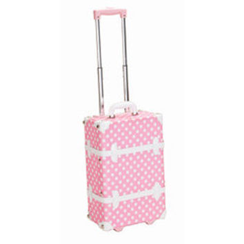 Rockland Handmade Carry-On Rolling Trunk Luggage - Pink Dot | Overstock.com