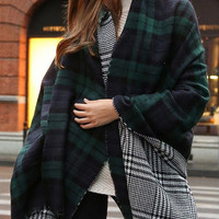 Double Sided Plaid Blanket Green Scarf