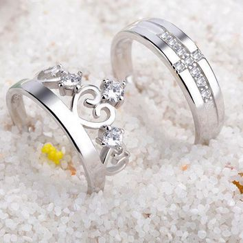 Sterling silver couple rings fashion crown diamond ring