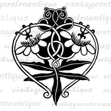 Flower Heart Ornament Graphic Image Digital Floral Design Printable Download Vintage Clip Art Jpg Png Eps  HQ 300dpi No.3811