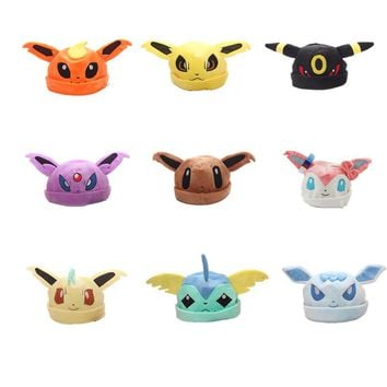 1pcs Eeveelution Sylveon Umbreon Eevee Espeon Jolteon Vaporeon Flareon Glaceon Leafeon Plush Hat Free Shipping