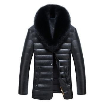 Mens Down Parkas Winter Coat Duck Down Jackets Real Fur Collar Warm Thick Outwear Overcoat Sheepskin Waterproof High Quality 3xl