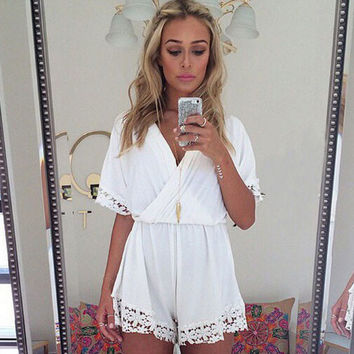 Lace Deep V-Neck Slim Piece Romper