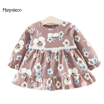 Autumn Fashion Infant Baby Girl Dress 2017 Brand Casual Cotton Long Sleeve Flower Print Girls Dresses Toddler Girls Clothes