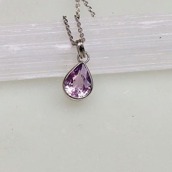 Orchid Purple Spinel 14k White Gold Bezel Set Necklace Delicate Layering Gemstone Necklace Keepsake Gift for Her