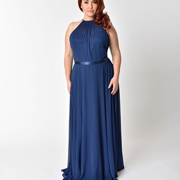 Plus Size Navy Blue Halter Chiffon Sleeveless Long Formal Gown