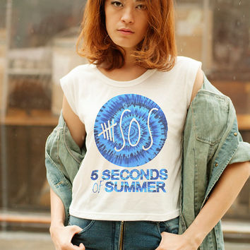 5SOS Shirt 5 Seconds of Summer Shirts Women T Shirt 5SOS Tie Dye Crop Top Muscle Tee Shirt Band TShirts
