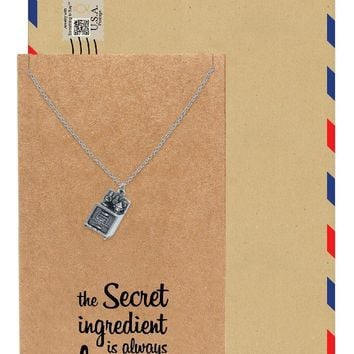 Shiela Gifts For Mom Chefs Necklace Kitchen Stove Charm Pendant Jewelry Greeting Card