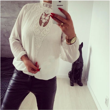 Women's Fashion White Water Droplets Lace Long Sleeve T-shirts [9643027471]