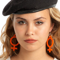 Orange Jumbo Girl Power Earrings