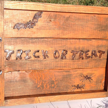Trick or Treat Halloween tray, rustic wood tray, Halloween decor