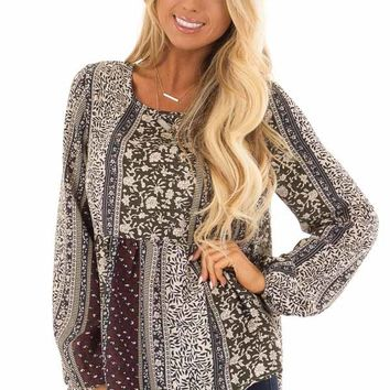 Wine Bohemian Print Babydoll Top with Back Button Detail