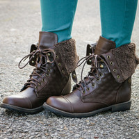 Davies Bluff Brown Fur Fold Over Combat Boots