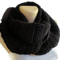 Black crochet scarf, infinity scarf , women , men scarf