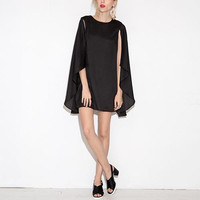 Black Cape Chiffon Mini Dress