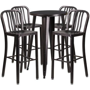 24'' Round Black-Antique Gold Metal Indoor-Outdoor Bar Table Set with 4 Vertical Slat Back Stools [CH-51080BH-4-30VRT-BQ-GG]