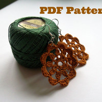 Crochet Pattern, PDF Pattern Crochet Flower Lace Earrings, Instant Download, Digital Download, DIY Jewelry, Crochet Tutorial, Crochet Ebook