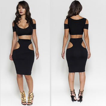 Black Short Sleeve Crop Top Cutout Two Piece Dress