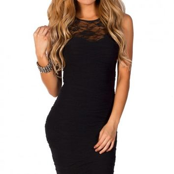 Lola Black Bodycon Lace Cut Out Tank Mini Dress