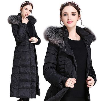 Women's Winter Long Down Jacket Duck Down Parkas Real Fox Fur Hood Ladies Warm Outwear Coat Hooded Big Size S-5XL Thicking