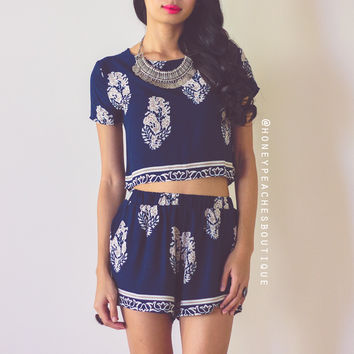 The Dreamers Two Piece Set - Navy