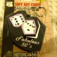 """Route 66 50'S RETRO LOOK """"3D PVC RATTLE & ROLL DICE"""" Soft Key Chain-NEW!"""