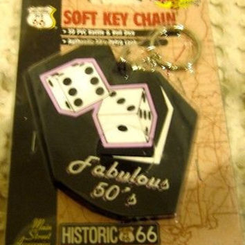 "Route 66 50'S RETRO LOOK ""3D PVC RATTLE & ROLL DICE"" Soft Key Chain-NEW!"