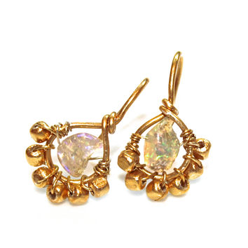 Rough Ethiopian Opal Earrings Gold Hoop Earrings Everyday Jewelry Gemstone FizzCandy