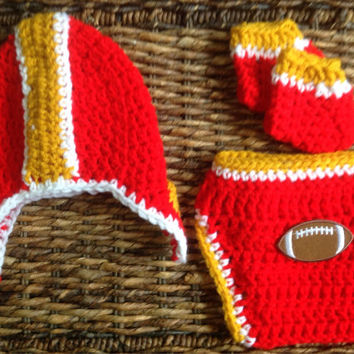Crochet San Francisco 49ers Theme Football Baby Helmet Hat Diaper Cover Gift Set