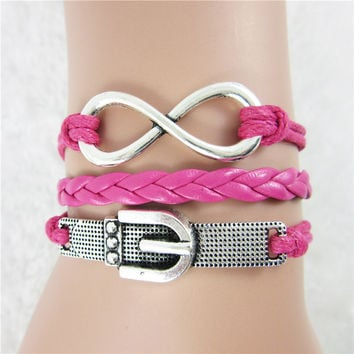 Women Alloy PU Rose Red Braided Wristband Bracelet Eight Word Watchband Charm Bracelet Friendship Bracelets