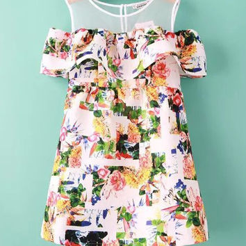 Floral Shoulder Cutout A-line Mini Dress with Mesh Accent