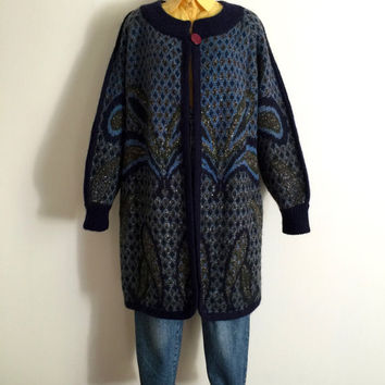 Vintage 1980s 'Bazaar' oversized blue and green paisley knit cardigan with lurex yarn side pockets