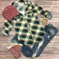 Penny Plaid Flannel Top: Green/Ivory