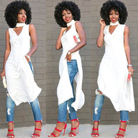 White Cut Out Side Split Sleeveless Maxi Blouse