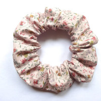 Light Pink Floral Hair Scrunchie, Patterned Cotton Scrunchie, Hair Accessory