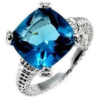 Aqua Cushion Engagement Ring