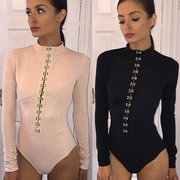 HIRIGIN Newest Sexy Women Lace Up Plunge Long Sleeve Bodysuits Leotard Ladies Skinny Playsuit