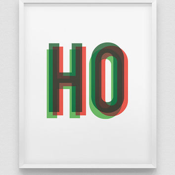 christmas wall decor // ho ho ho print // santa home decor // holiday season print // red and green typographic home decor //
