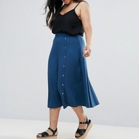 ASOS CURVE Midi Skirt with Asymmetric Poppers at asos.com