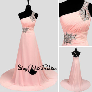 Pink Long Beaded One Shoulder Pleated Prom Dress with Train, Sequined One Strap Long Pleated Top Pink Open Back Chiffon Evening Dresses 2015
