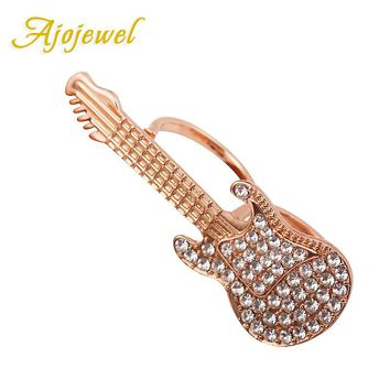 Ajojewel 2017 New Shinning Crystal Two Finger Double Ring Trendy Guitar Rings For Women Party Jewelry Annel