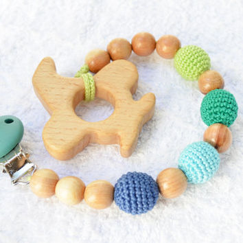 Plane Shaped Wooden Teether - Blue Emerald Green Pacifier clip - Teething toy - Wooden toy - Grasping toy - Newborn gift - Baby shower gift