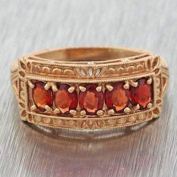 1970s Vintage Estate 14k Solid Yellow Gold Garnet Cluster Filigree Band Ring