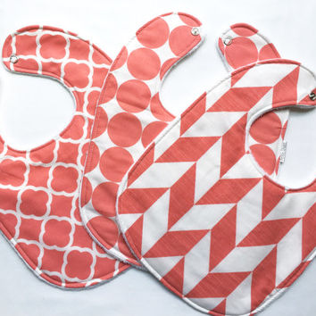 Baby Bib Set - Modern Baby Bib Set- Coral and White Bib Set - Geometric Print Girl Bibs - White Minky Fabric Backing- Handmade Baby Gift