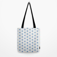 Acrylic Blue Floral Triangles Tote Bag by Doucette Designs