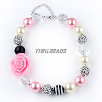 Sweet Pink Rose Chunky Solid beads Bubblegum necklace Pendant Girls Jewelry 1set