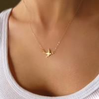 Small Bird Necklace - Tiny Bird Charm Necklace - Dainty Gold or Silver Sparrow Necklace - Petite Choker Necklace - Gift Necklace Under 30
